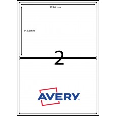 AVERY L7167GU                    2XLABELS PER SHEET 199.1 X 143.50mm