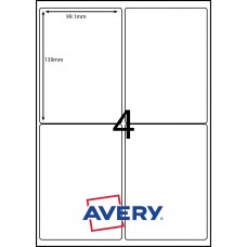 AVERY LABELS L7166GU                      4xLABELS PER SHEET 99.1mm X 139mm