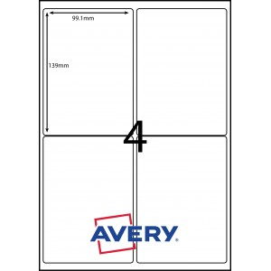 AVERY LABELS L7169GU                      4xLABELS PER SHEET 99.1mm X 139mm