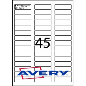 AVERY L7156GU                         45xLABELS PER SHEET 64 X 17.8mm