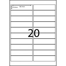 20 LABELS PER SHEET 98.7mm x 25.4mm  AVERY COMPATIBLE DL-20