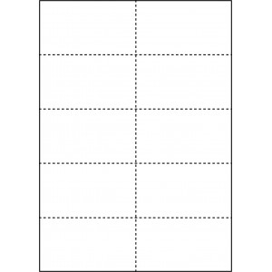 WHITE CARD SHELF TAGS - 10 PER SHEET - TAG SIZE: 59mm x 105mm - A4-10TAG
