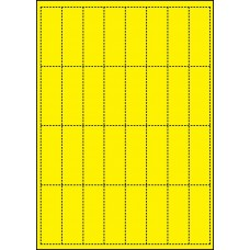 YELLOW CARD SHELF TAGS - 32 PER SHEET - TAG SIZE: 25mm x 70mm - A4-32 TAG YE