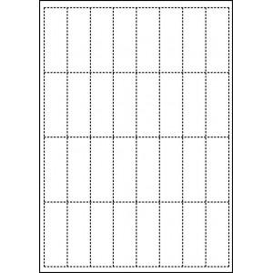 WHITE CARD SHELF TAGS - 32 PER SHEET - TAG SIZE: 25mm x 70mm - A4-32 TAG