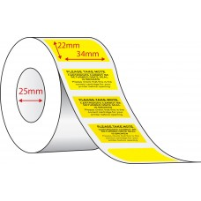 CARTRIDGE LABELS - 34mm x 22mm - 1000 PER ROLL