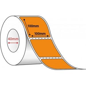 ORANGE DIRECT THERMAL - 100mm x 100mm - 1350 PER ROLL