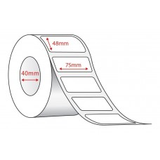 WHITE DIRECT THERMAL - 75mm x 48mm - 500 PER ROLL