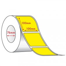YELLOW DIRECT THERMAL - 100mm x 100mm - 1500 PER ROLL