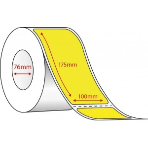 YELLOW DIRECT THERMAL LABELS - 100mm x 175mm - 1000 PER ROLL