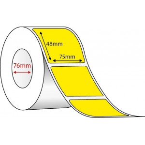 YELLOW DIRECT THERMAL - 75mm x 48mm - 2000 PER ROLL