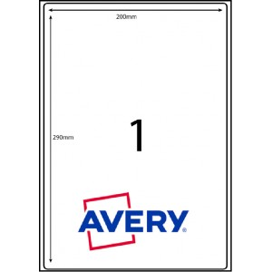 AVERY L7167GU                        1XLABELS PER SHEET 199.6 X 289.1mm