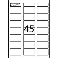 45 LABELS PER SHEET 58mm x 17.8mm COMPATIBLE WITH AVERY L7156
