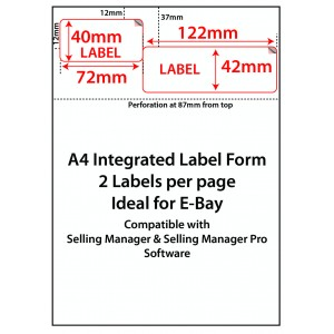 EBAY INTEGRATED LABELS - 2 LABELS PER SHEET - 42x122mm + 40x72mm