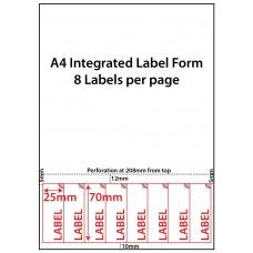 INTEGRATED LABELS - 8 PER SHEET - 25mm x 70mm