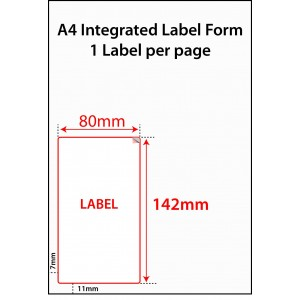 INTEGRATED LABELS - 1 PER SHEET - 80mm x 142mm