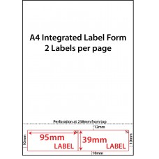 INTEGRATED LABELS - 2 PER SHEET - 95mm x 39mm