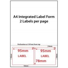 INTEGRATED LABELS  – 2 PER SHEET – 95mm x 78mm