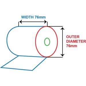 76mm x 76mm - BOND PAPER ROLL - 1 PLY