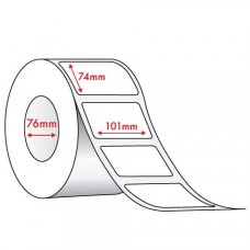 WHITE DIRECT THERMAL - REMOVABLE ADHESIVE - 101mm x 74mm - 1500 PER ROLL