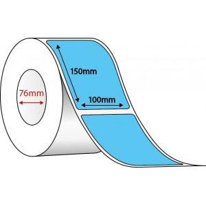 FLUORO BLUE THERMAL TRANSFER LABELS - 100mm x 150mm - 1000 PER ROLL