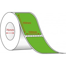 FLUORO GREEN THERMAL TRANSFER LABELS - 100mm x 150mm - 1000 PER ROLL