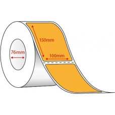 FLUORO ORANGE THERMAL TRANSFER LABELS - 100mm x 150mm - 1000 PER ROLL