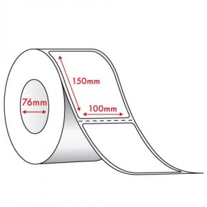 WHITE SYNTHETIC THERMAL TRANSFER - 100mm x 150mm - 1000 PER ROLL