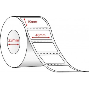 WHITE SYNTHETIC THERMAL TRANSFER - 40mm x 15mm - 3000 PER ROLL